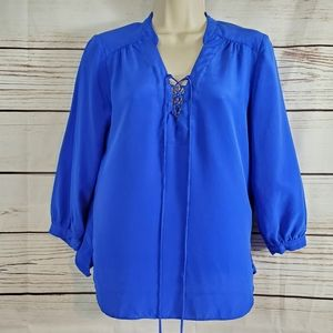 Amanda Uprichard   Silk Royal Blue Tie Front Top